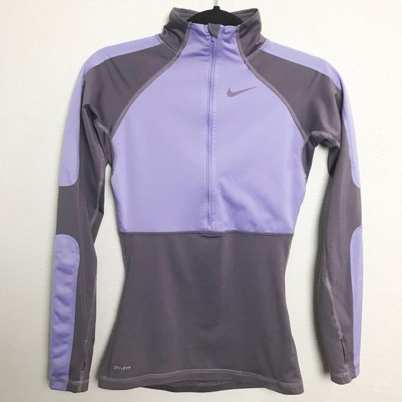 19dabaa2c536 Nike Pro Dri Fit 1 2 Zip Pullover Top Purple Sz XS.  M 5b823f5b5fef371e89b1dc7b